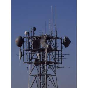 Microwave Tower Bristles with Antennas and Transmitters