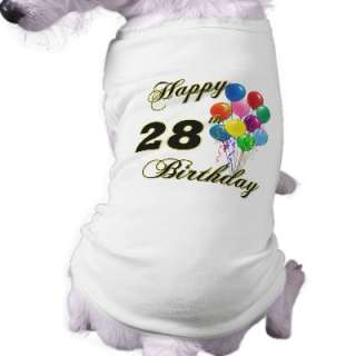 Happy 28th Birthday Gifts with Balloons Dog Shirt by BirthdayZone